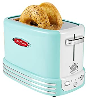 Nostalgia RTOS200AQ New and Improved Retro Wide 2-Slice Toaster Perfect For Bread English Muffins Bagels 5 Browning Levels With Crumb Tray & Cord Storage – Aqua