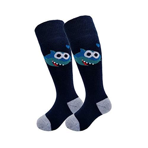 HIGHCAMP Kids Over-the-Calf Socken - OTC Wintersport Socken, gepolsterte Performance Ski Socken aus Merinowolle (Baby Shark, XS (1-3 Y))