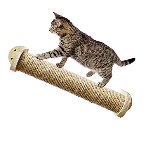MOUHIV Katzenkratzbaum Austauschbarer Sisalzylinder An der Wand befestigter Katzenkratzer Kitty Bett Kitten Lounge Katzenstangen Handgemacht, 48cm