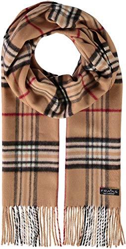 FRAAS Karierter Plaid Schal für Damen & Herren - 30 x 180 cm - Perfekt für Herbst & Winter - Eleganter Unisex Fransenschal, Made in Germany Camel