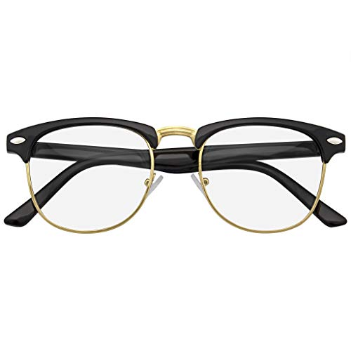 Emblem Eyewear - Premium Half Frame Horn Rimmed Sunglasses Metal Rivets (Black Clear, 49)