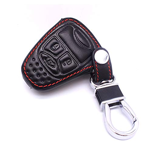 4 Button Leather Key Cover Smart Case Remote fob for Jeep Wrangler Liberty Patriot Grand Cherokee Dodge Magnum Chrysler Pacifica
