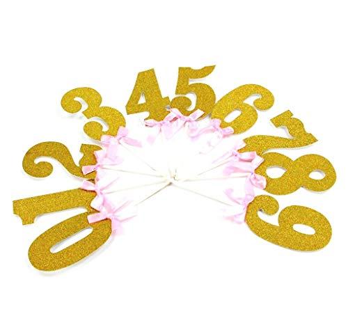 Miss Bakery's House® Cake Topper - Glitter - cijfers 0-9 mit Schleife Gold - Rosa