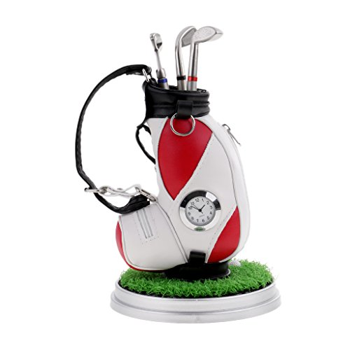 Gazechimp Schreibtisch Deko Stiftehalter mit Uhr Golftasche Design Desktop Stifthalter mit 3pcs Golf Kugelschreiber Golfspieler Geschenkset