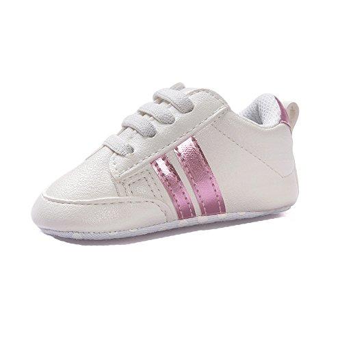 Fossen Zapatos de bebé calzado deportivo de cuero antideslizante inferior suave para niños pequeños infantiles Primeros pasos (0-6 meses, Rosa)