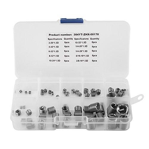 60pcs Set Box Vis en Fil d'Acier Inoxydable, Walfront Manchon Vis Inserts Kit de Réparation de Filetage