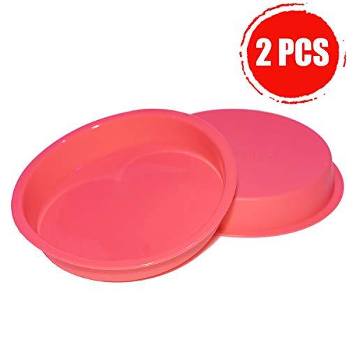 Aokinle Silicone 8 Inch Cake Pan, European-Grade LFGB Round Baking Mold Set of 2, Non-Stick Bakeware Pan, Reusable Food-Grade, FDA Approved, BPA Free