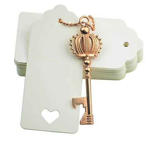 Makhry 52pcs Crown Shape Vintage Key Bottle Openers Wedding Favors Party Favor for Guest Souvenir Gift Set with Escort Thank You Tags and Keychain (Rose Gold)