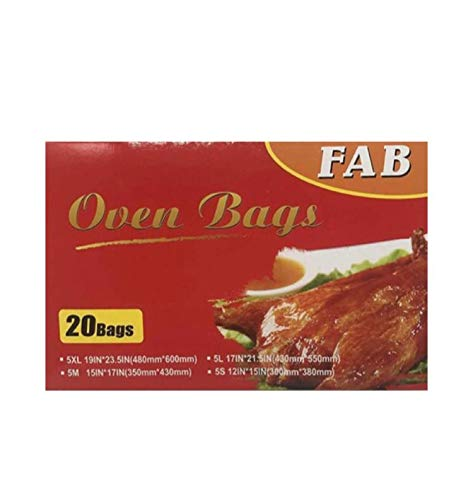 Gen Fab 20 Oven Bags for Cooking | Turkey Bags, Toaster Bags, BBQ Bags, Fish Bags | 4 Size Packs of 5 Count Grill Bags Each