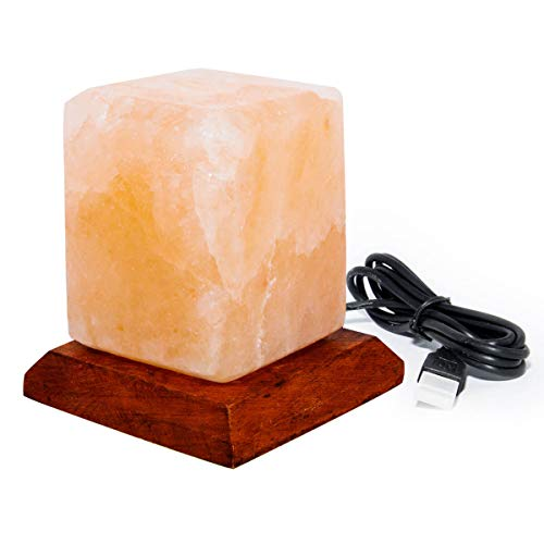 Lámpara de sal natural de Himalaya de cristal de sal de roca de cristal, lámpara de cubo 100% genuina