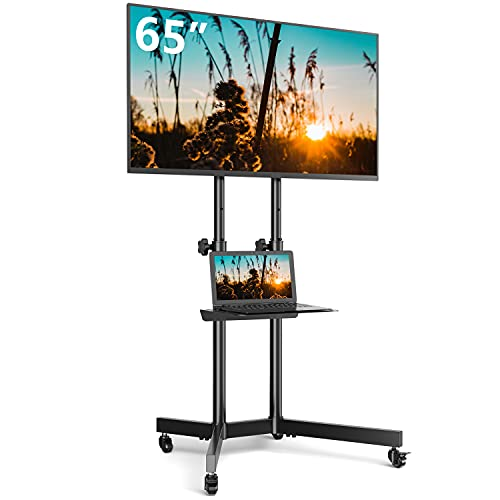 Rfiver Mobile TV Cart with Wheels for 32-65inch LCD LED Plasma Flat Screen TVs and Monitors up to 110lbs, Portable Rolling Black TV Stand with Adjustable Height and Laptop Shelf, Max VESA 600x400