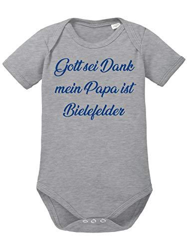 clothinx Gott sei Dank,Mein Papa ist Bielefelder, Lustiges Fussballmotiv Baby Body Bio Sports Grey Gr. 86-92