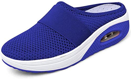 YHDY Women's Air Cushion Slip-On Walking Shoes, Orthopedic Diabetic Walking Shoes, Platform Mesh Mules Sandals, Breathable with Arch Support Knit Casual Comfort Outdoor Walking Sneakers (40,Blue)