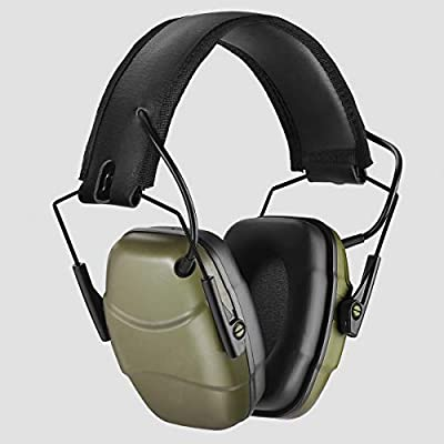 34 dB NRR Noise Reduction Safety Shooting Ear Muffs,Shooters Hearing Protection Adjustable Ear Muffs,Professional Ear Defenders for Shooting Hunting Fits Adults to Kids(Green)