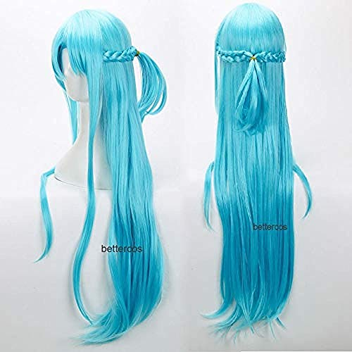 Sword Art Online Yuuki Asuna Yuki Asuna Cosplay pelucas trenzadas de estilo azul resistente al calor peluca de pelo sinttico + gorro de peluca