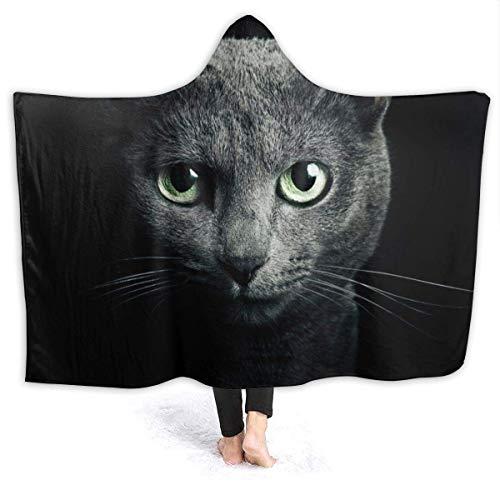 Shenguang Warme Hoodie Decke Russische Blaue Katze Kapuze Überwurf Wickel Cape Umhang Bademantel Damen Thermal Couch Bett Schal Flanell mit Ärmeln