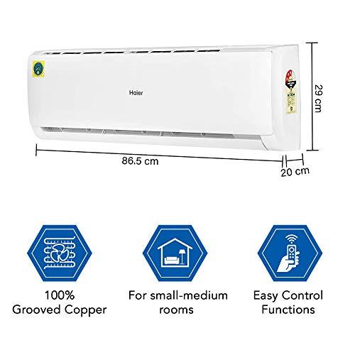 Haier 1 Ton 3 Star Split AC (Copper, High Density Filter, 2020 Model, HSU12T-TFW3B, White)
