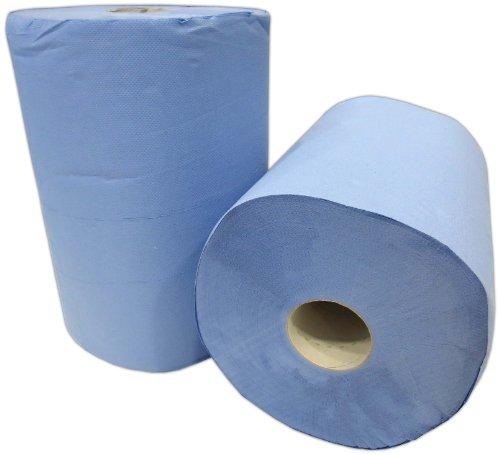 2x Putzrolle blau 2-lagig jew. 500 Blatt gesamt ca. 1000 Blatt ca. 36x36 cm perforiert saugstark Reinigungstücher Putzpapier Wischtücher