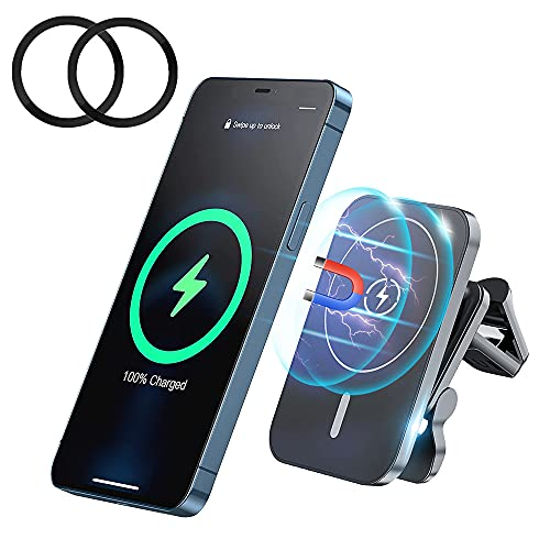 Magnetic Wireless Car Charger, LEWOTE 15W Fast Charging Air Vent Phone Holder Compatible with iPhone 13/13 Pro Max/13 Pro/13 Mini/12/12 Pro Max/12 Pro/12 Mini[With 2Pcs 3M Sticker Metal Rings] (Black)