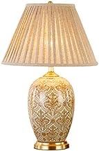 Mopoq European and American retro handmade ceramic table lamp bedroom bedside lamp living room European style pastoral gla...