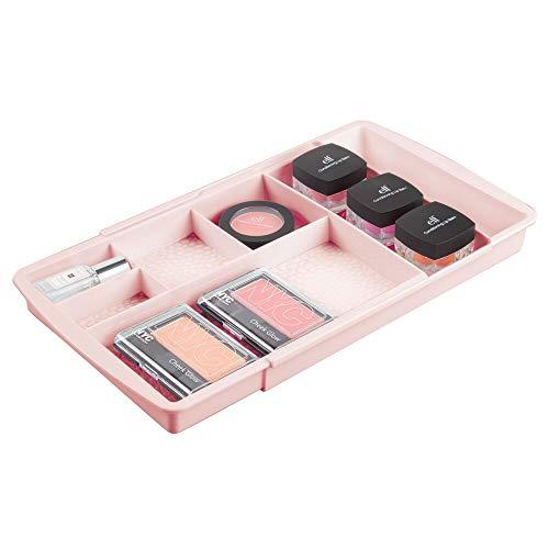 mDesign rangement maquillage – boîte à maquillage extensible avec compartiments pour le tiroir – rangement make up en plastique parfait pour vernis à ongles, maquillage, etc. – rose clair