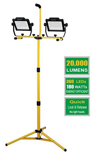 Dayatech 180w 20000 lumen dual-head led work light with metal telescopic tripod stand,10 ft power cord