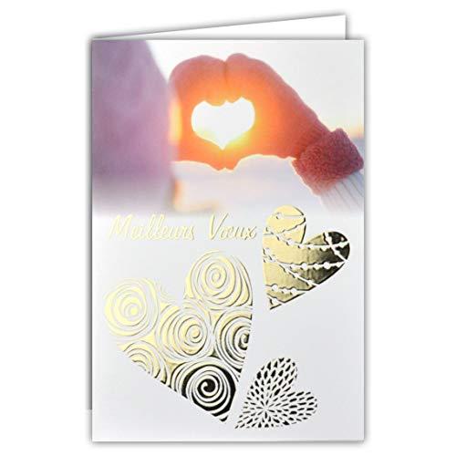Kaart, beste groeten, hart, handen, wanten, handschoenen, muts, goudkleurig