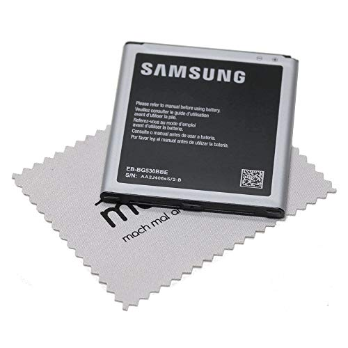 Batería para Original Samsung EB-BG530 LiIon para Samsung Galaxy J3 2016 (J320F), Galaxy Grand Prime (G530 F) con mungoo pantalla paño de limpieza