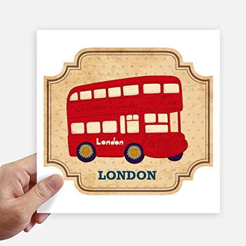 DIYthinker Uk Londen dubbeldekker bus stempel vierkant Stickers 20Cm muur koffer Laptop Motobike Decal 4 Stcs