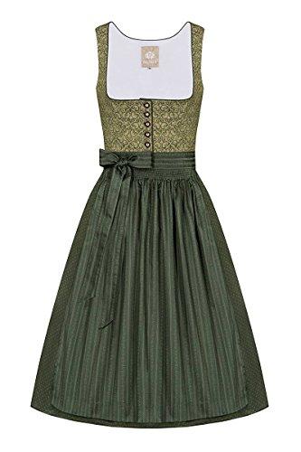 Moser Trachten Baumwolle Midi Dirndl 70er grün Oliv Babette 005202 von Moser, Rocklänge: ca. 70 cm, mit Knopfleiste, Größe 44