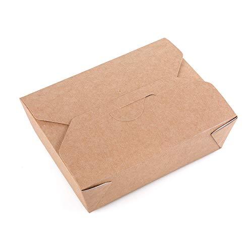 (25 Stück) Kraftpapier-Lebensmittelbehälter, Box zum Mitnehmen, Fast Food, auslaufsicher, Einwegboxen (25, 900 ml)