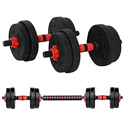 Dengken Adjustable Dumbbell Pair Set Home Gym Fitness Dumbbell Combination Environmental Dumbbell Barbell Adjustable Weight to 22Lbs Gym Workout Strength Training Equipment