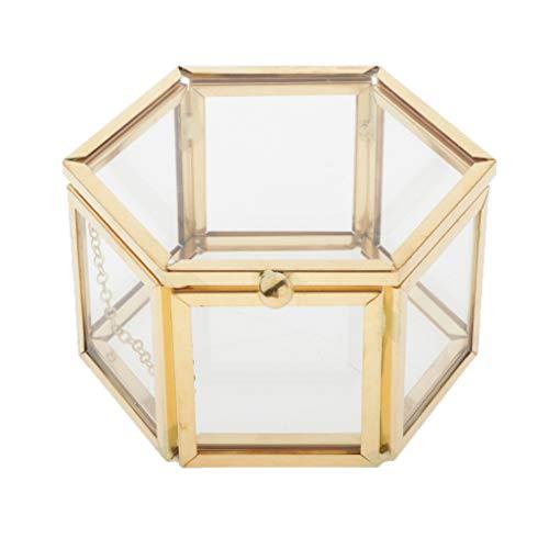 chiwanji Schmuckschatulle mit Deckel, Deko Schmuck-Kasten, Glas Terrarium Box für Ringe und Ohrringe Dekorative Box Ehering Vitrine Schmuck Box