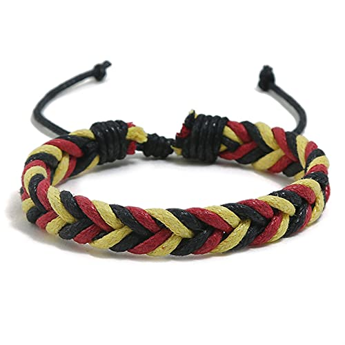 Marekyhm -uk Pulsera de cuerda para niño y niña, mezcla de colores, pulsera ajustable, para parejas, pulsera de amistad, joyería para hombre (color metálico: amarillo)