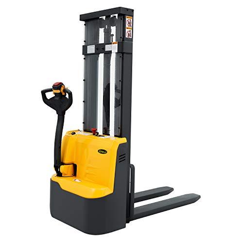 Apilador eléctrico totalmente alimentado con accionamiento y elevación, capacidad de 299,7 kg, altura de elevación fija, horquillas de material de elevación