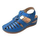 Sandalias Mujer Verano Cuña Sandalias Cerradas Cómodos Casual Zapatos de Playa Sandalias cangrejeras Mujer con Hebillas y Tiras en la Parte Trasera Retro Romanas Zapatos Mujer con tacón para Damas