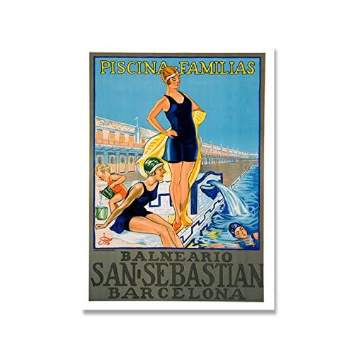 zkpzk España Barcelona San Sebastián Valencia Fallas Carteles Impresiones Vintage Viaje Lienzo Pintura Imagen Regalo Moderno Decoración De La Habitación del Hogar -50X75Cmx1 Sin Marco