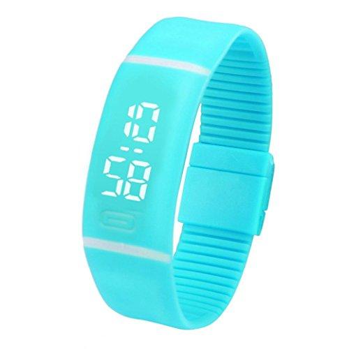 LSAltd Herren Damen LED Digitaluhr Unisex Gummi Datum Sport Armbanduhr Armband Geschenk (Himmel Blau)