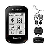 Bryton Rider 420T GPS Cycling Bike Computer (Cadence HRM sensors Bundle), 35hrs Long Battery Life, Bread-Crumb Trail with Turn-by Turn Follow Track. 5 Satellites Systems Support for Extreme Accuracy.