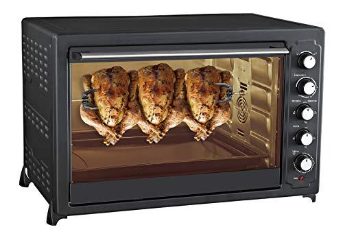 Team Kalorik Ofen, 100 l, mit Tablett, Rost und Drehspieß (100 – 250 °C), 2800 W, Metall/Glas, schwarz, TKG OT 1033 BCRL