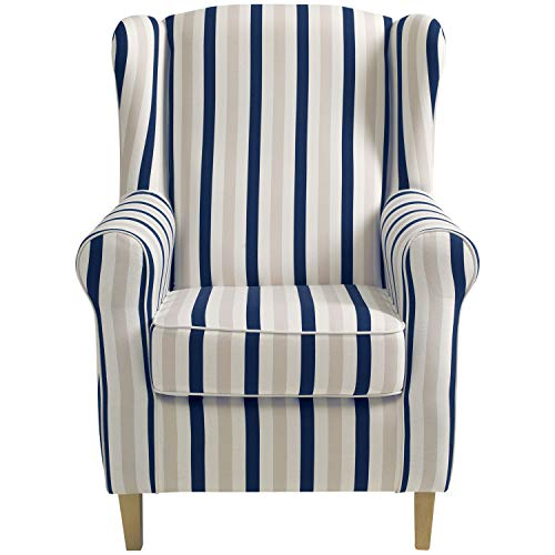 Max Winzer Ohrenbackensessel Lorris Flachgewebe blau, 2900-1100-2077808-F01, 77 x 86 x 103 cm