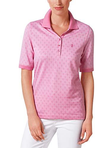 Walbusch Damen Bügelfrei Polo Jacquard Pique Gemustert Pink 40