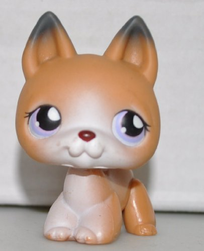German Shepherd #112 (Shiba Inu) (Tan, White Face, Purple Eyes) Littlest Pet Shop (Retired) Collector Toy - LPS Collectible Replacement Single Figure - Loose (OOP Out of Package & Print)