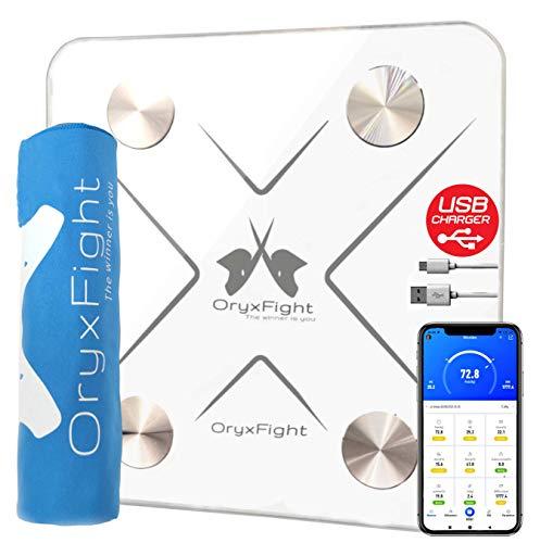 ORYXFIGHT Impedanzmesser, intelligente Waage, wiederaufladbarer Akku, Bluetooth, 12...
