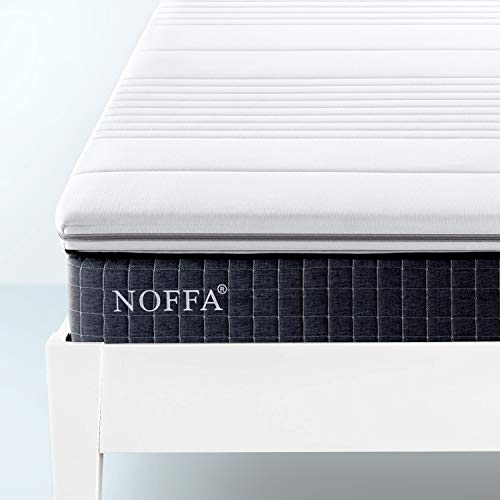 NOFFA High Density Sponge Foam Topper 120 x 190 x 5 cm | 2 inches thick Mattress Topper with Ultra Soft Cover - Removable & Washable (Small Double)