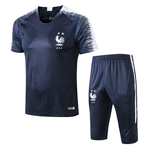 Qinmo 2021 nuevos Camisetas de fútbol, Francia Club de fútbol, chándal de Hombre, Juegos de Ropa Deportiva, Juego de Manga Corta y Pantalones Cortos para el Verano (Size : L)