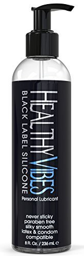 Premium Silicone Sex Lubricant by Healthy Vibes, 8 Oz Longest Lasting Personal Lube [Sensitive Skin on Women, Men, and Couples] Intimate Black Label | Paraben & Glycerin Free