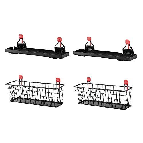 Rubbermaid Metal Backyard Shed Shelf & Wall Mounted Wire Basket (2 of Each)