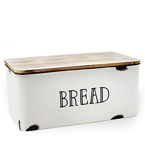 AVV Farmhouse Bread Box for Kitchen Countertop Metal White Loaf of Bread Storage Container Large Vintage Bin Retro Rustic Counter Homemade