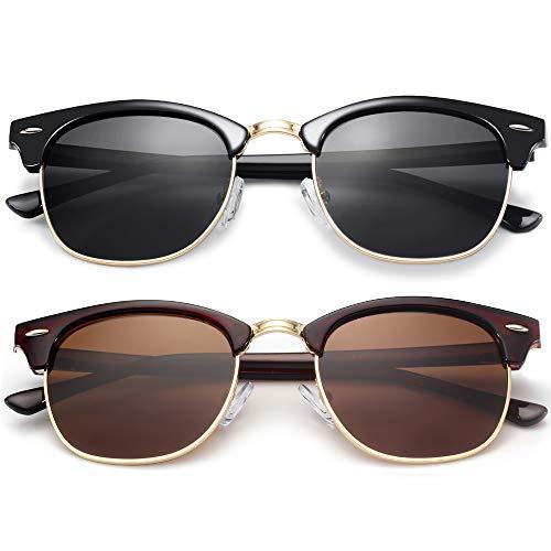 KANASTAL Womens Semi Rimless Polarized Sunglasses Black and Brown Lens (2 Pack)